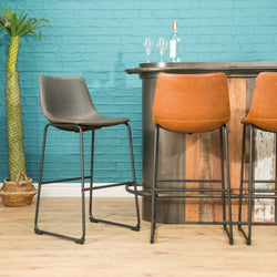 Dexter Grey Set of Two Kitchen Bar Stools