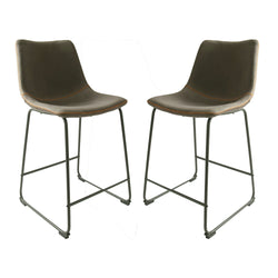 Dexter Moleskin Mussel Brown/Grey Set of Two Kitchen Counter Stools