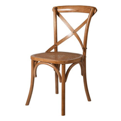 Gainsborough Brown X-back Dining Chair with Rattan Seat