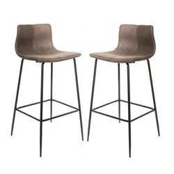 Grayson Moleskin Mussel Brown/Grey Set of Two Kitchen Bar Stools