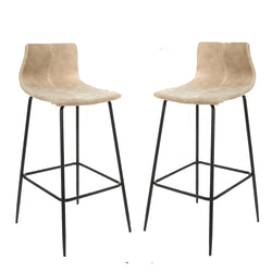Grayson Moleskin Oyster Cream Set of Two Kitchen Bar Stools
