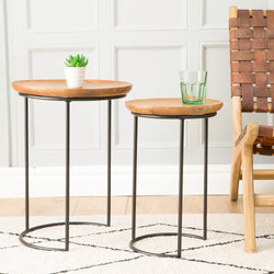 Industrial Teak Root Nest of Two Tables