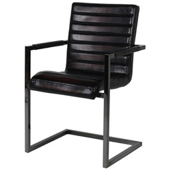 Liquorice Black Leather Carver Dining Chair