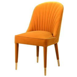 Mustard Velvet Curve Back Dining Chair
