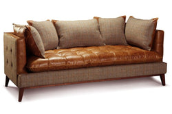 Portland Three Seater Sofa Brown Cerato Leather and Gamekeeper Thorn Tweed