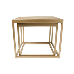 Rustic Teak and Gold Set of Two Coffee Side Tables