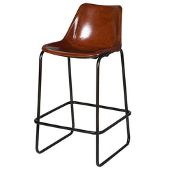 Tan Leather Bar Kitchen Dining Stool