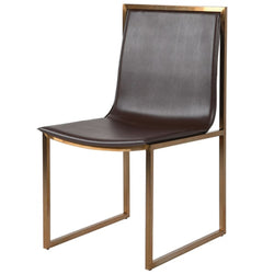 Vesper Brown Faux Leather and Gold Frame Dining Chair