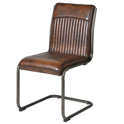 Vintage Brown Faux Leather Metal Frame Dining Chair