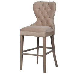 Beige Buttoned Velour Bar Kitchen Stool with Silver Studs