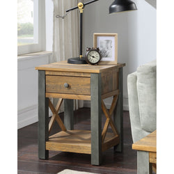 Harringay Reclaimed Wood Side Table / Bedside Table with One Drawer and  Shelf - The Orchard Home and Gifts