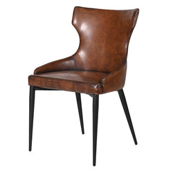 Vintage Faux Brown Leather Dining Chair