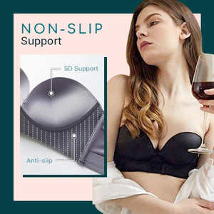 Plus Size Women Strapless Front Buckle Lift Bra, Float Invisible Non-Slip Seamless Bra For Wedding Dress Backless Outfits