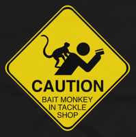 Funny fishing t shirt design with caution sign bait monkey and text.