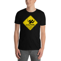 Model wearing funny fishing t shirt with caution sign bait monkey design and text.