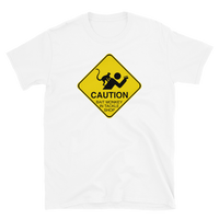Funny fishing t shirt with caution sign bait monkey design and text.