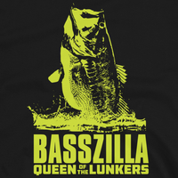 Bass fishing t shirt design with movie poster largemouth bass and text.