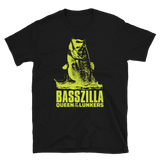 Bass fishing t shirt with movie poster largemouth bass design and text.