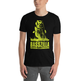 Model wearing bass fishing t shirt with movie poster largemouth bass design and text.