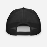Die-hard angler black colored fishing hat with white 3D puff embroidery; rear.