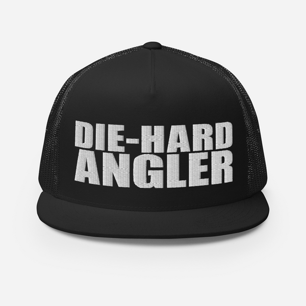 Die-hard angler black colored fishing hat with white 3D puff embroidery; front.