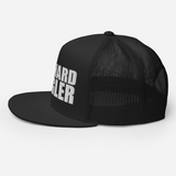 Die-hard angler black colored fishing hat with white 3D puff embroidery; profile.