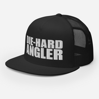 Die-hard angler black colored fishing hat with white 3D puff embroidery; side view.