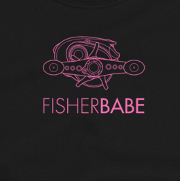 Women's fishing t shirt design with baitcasting reel and modern text.