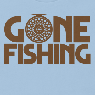 Women's fishing t shirt design with fly fishing reel and text.