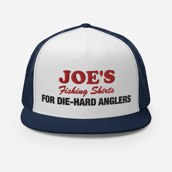 JOE'S Fishing Shirts logo and slogan navy colored embroidered fishing hat.