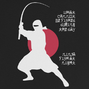 Long sleeve fishing shirt design with ninja silhouette and Japanese-styled text.