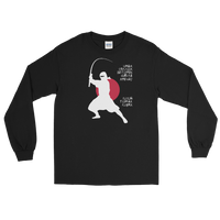 Long sleeve fishing shirt with ninja silhouette design and Japanese-styled text.