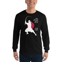 Model wearing long sleeve fishing shirt with ninja silhouette design and Japanese-styled text.