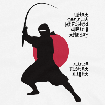 Funny fishing t shirt design with ninja silhouette and Japanese-styled text.
