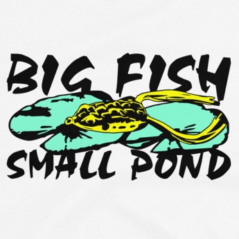 Bass fishing t shirt design with frog fishing lure and text.