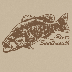 Long sleeve fishing shirt design with river smallmouth bass and text.