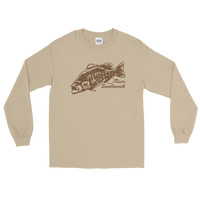 Long sleeve fishing shirt with river smallmouth bass design and text.