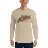 Model wearing long sleeve fishing shirt with river smallmouth bass design and text.