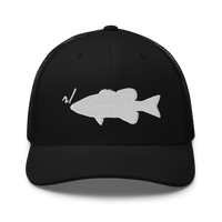 r/RiverSmallmouth reddit black colored fishing hat with white embroidered fish logo; front.