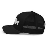 r/RiverSmallmouth reddit black colored fishing hat with white embroidered fish logo; profile.
