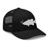 r/RiverSmallmouth reddit black colored fishing hat with white embroidered fish logo; side view.