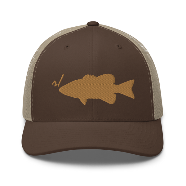 r/RiverSmallmouth reddit brown and khaki colored fishing hat with gold embroidered fish logo; front.