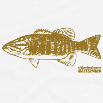 Bass fishing t shirt design with reddit r/RiverSmallmouth logo.
