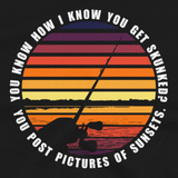 Funny fishing t shirt design with sunset and text.