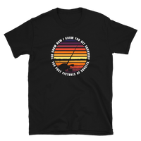 Funny fishing t shirt with sunset design and text.