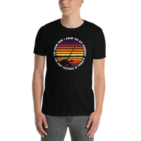 Model wearing funny fishing t shirt with sunset design and text.