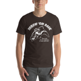 Model wearing bass fishing t shirt with smallmouth bass jumping design and text.
