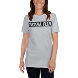 Model wearing women's fishing t shirt with urban-styled text design.
