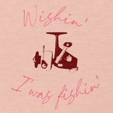 Women's fishing t shirt design with spinning reel and cute text.