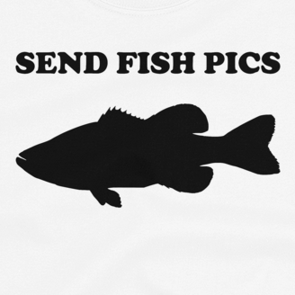 Women's fishing t shirt design with largemouth bass silhouette and text.